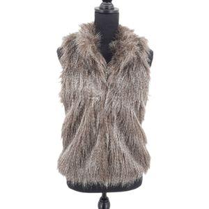 CiSono Faux Fur Hook & Eye High Neck Vest M